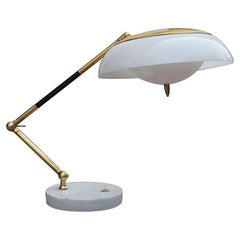 Stilux Table Lamp Plexiglass Brass Marble Gold Midcentury Italian Design, 1960