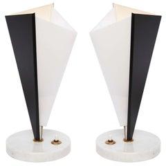 Stilux Table Lamps Pair Mid-Century Modern Metal Marble Perspex, Italian, 1950s