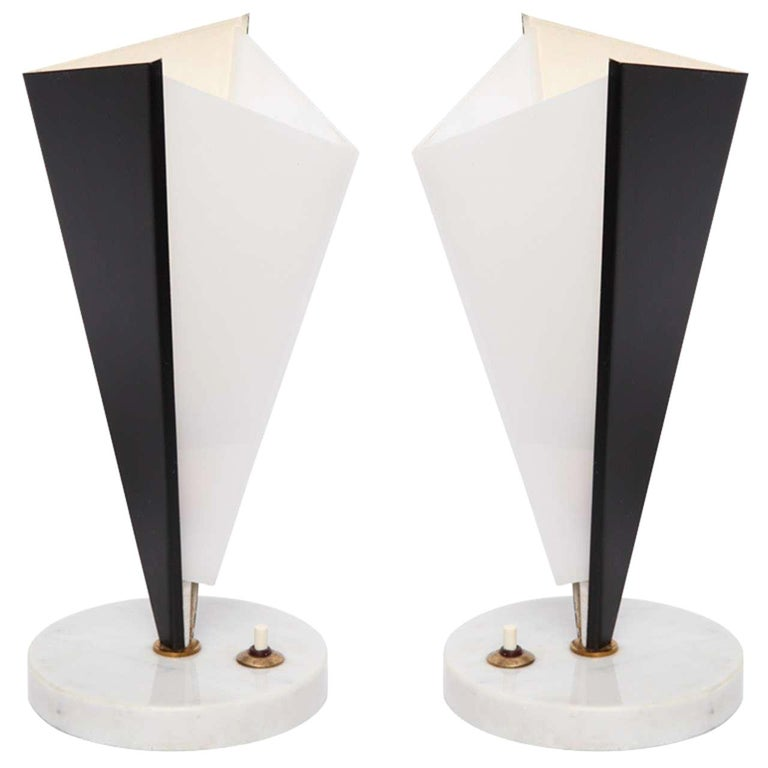 Stilux Table Lamps Pair Mid-Century Modern Metal Marble Perspex, Italian, 1950s For Sale