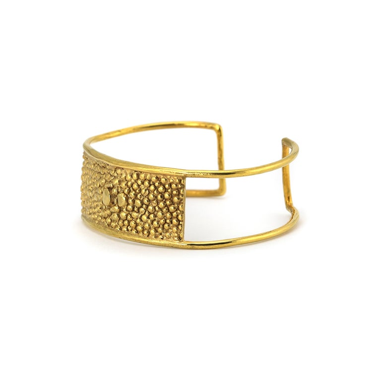Stingray Bar Cuff bracelet featuring texture from stingray skin applied to metal.  Designed and created in New York by Lauren Newton.  Lauren Newton Jewelry is an exclusive jewelry brand designed and crafted by Lauren Newton.  While Lauren has