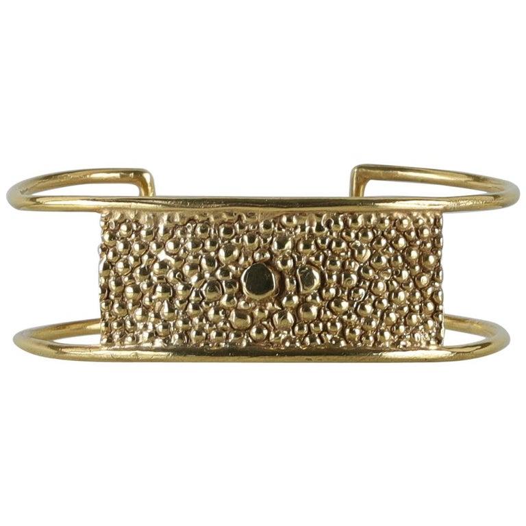 Lauren Newton Stingray Bar Cuff Bracelet in Textured Metal For Sale