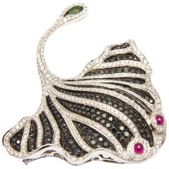 Stingray Brooch or Pendant in White Gold, Diamond, Ruby, Tourmaline, Black Gem