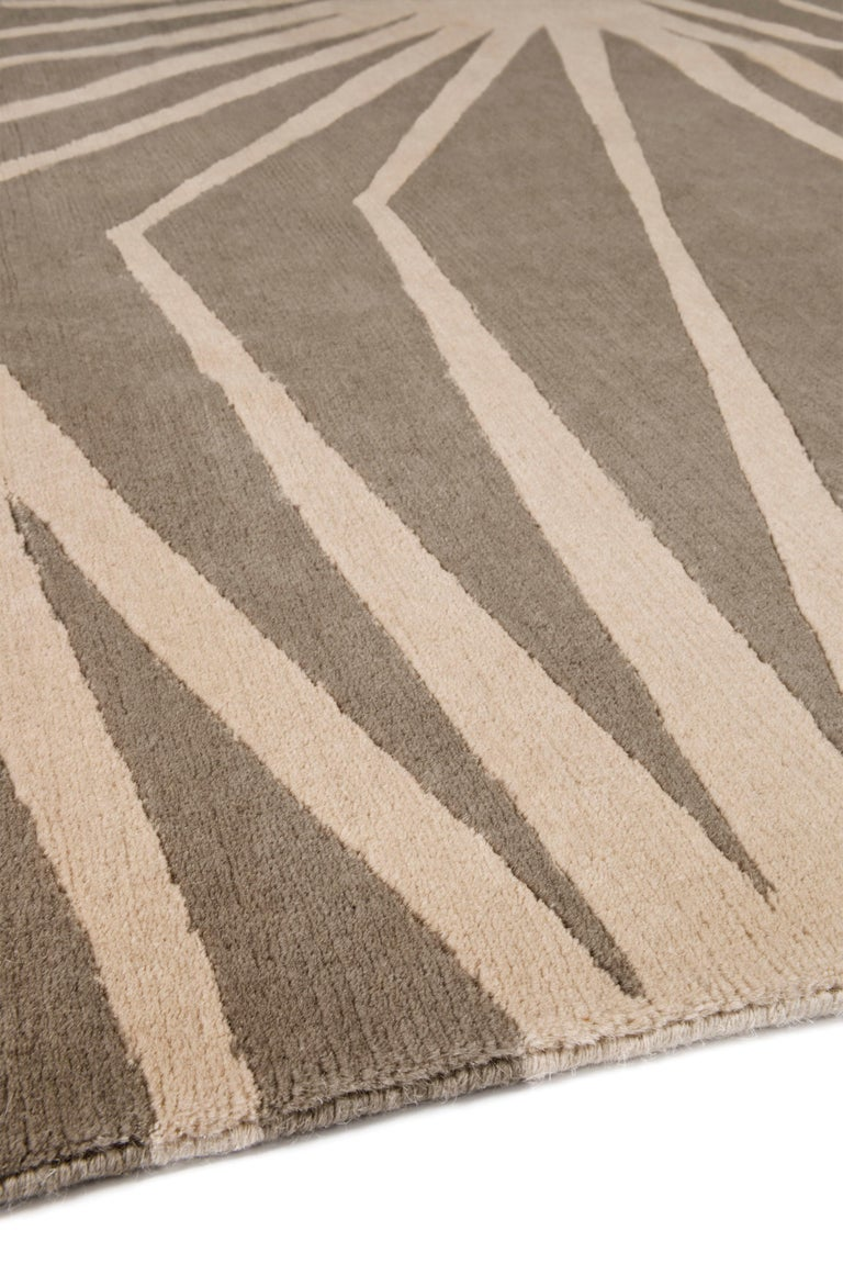 Modern Stingray Neutral Hand-Knotted 10x8 Rug in Wool by Alexandra Champalimaud For Sale