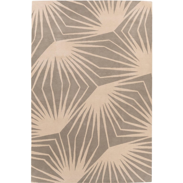 Stingray Neutral Hand-Knotted 10x8 Rug in Wool by Alexandra Champalimaud For Sale