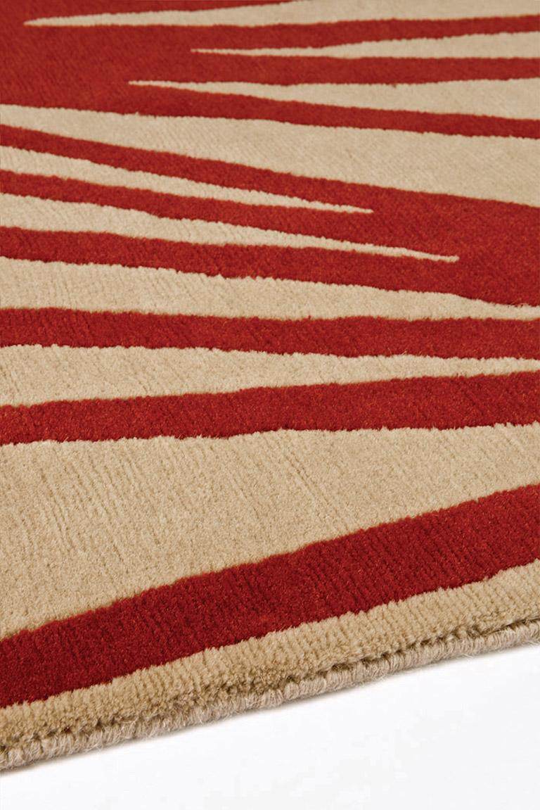 Modern Stingray Red Hand-Knotted 10x8 Area Rug in Wool by Alexandra Champalimaud For Sale