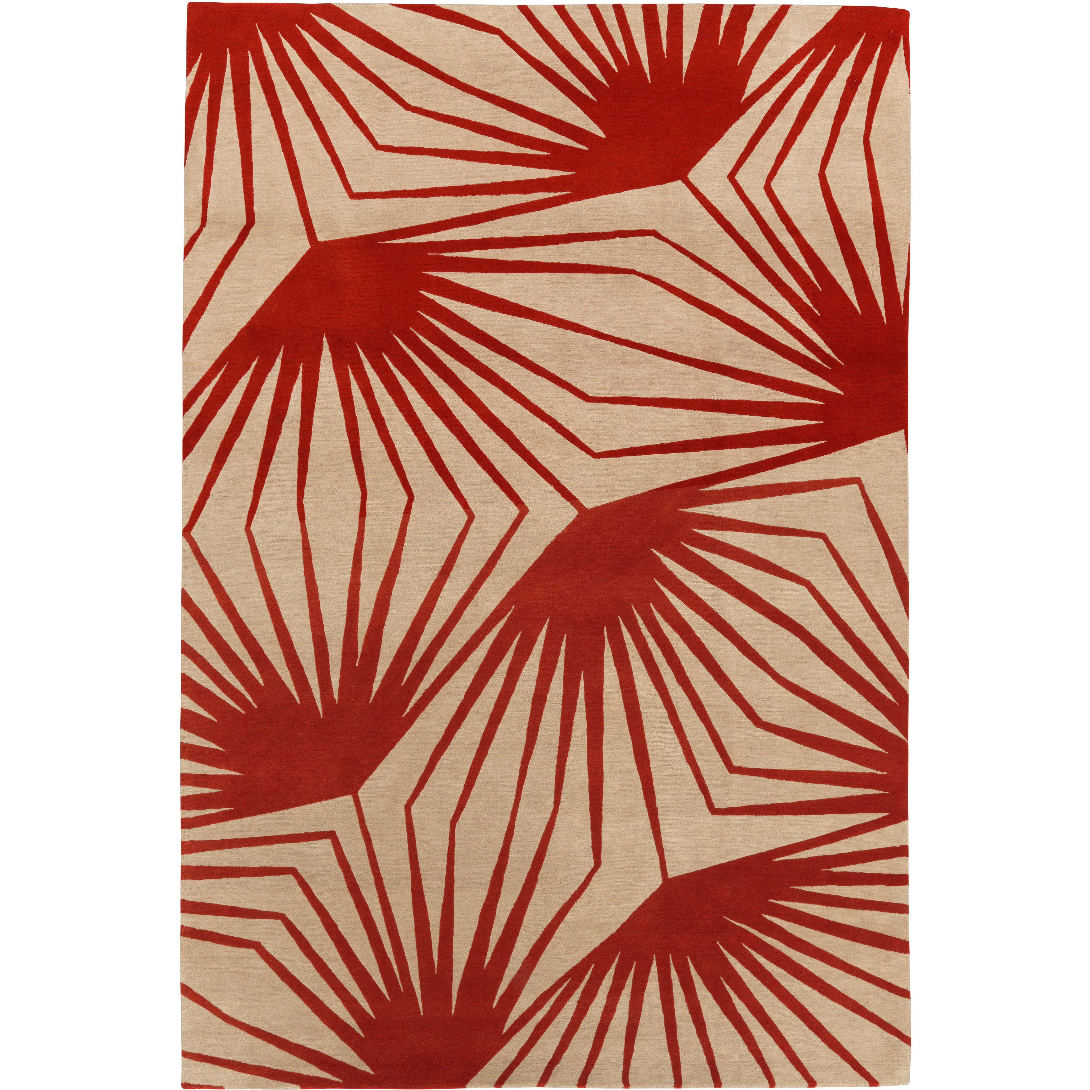 Stingray Red Hand-Knotted 10x8 Area Rug in Wool by Alexandra Champalimaud