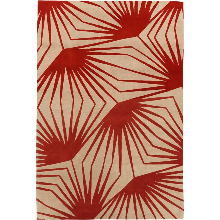 Stingray Red Hand-Knotted 10x8 Area Rug in Wool by Alexandra Champalimaud For Sale