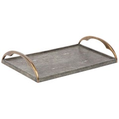 Stingray Shagreen Tray with Bronze Handles by Augousti