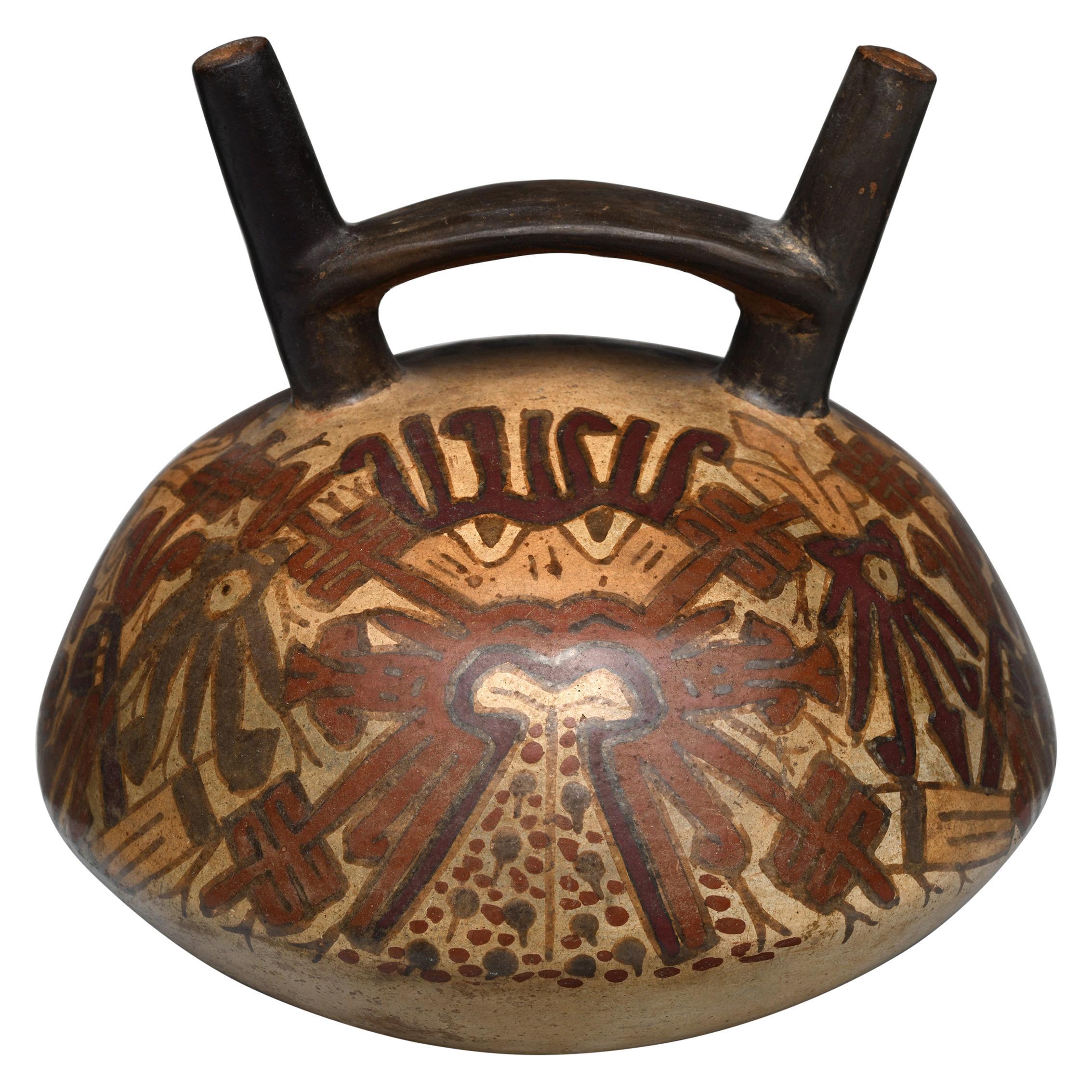 Stirrup Double Spout Nazca Polychrome Pre-Columbian Vessel