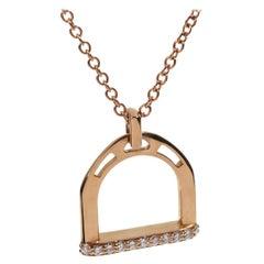 Stirrup Rose Gold Diamond Necklace