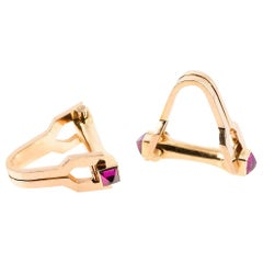 Stirrup Shaped Cufflinks in 18 Karat Gold with Two Rubies, French, circa 1950