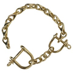 Stirrup Solid Gold Link Bracelet Estate Fine Jewelry