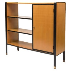 Stitched Leather Bookcase by Jacques Adnet