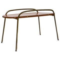 Stitched Leather Cocktail Table by Jacques Adnet