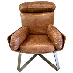 Stitched Leather Lounge Chair
