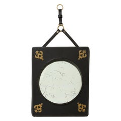 Stitched Leather Mirror by Jacques Adnet