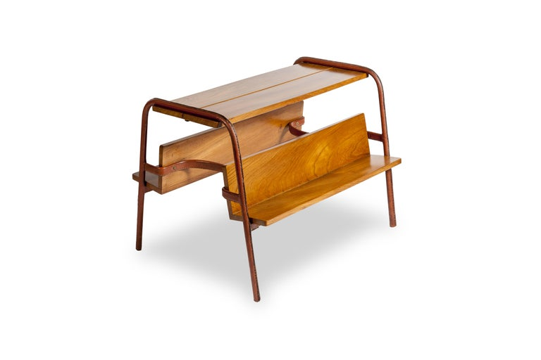 French Stitched Leather Table by Jacques Adnet For Sale