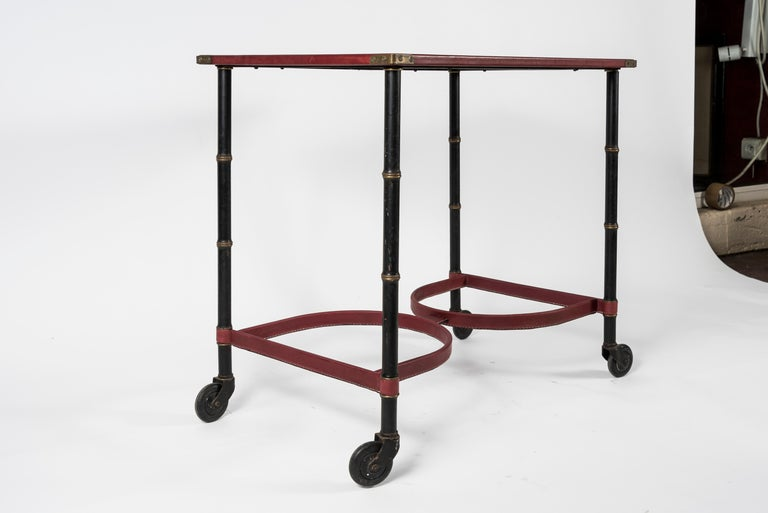 French Stitched Leather Table by Jacques Adnet