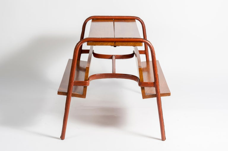 Stitched Leather Table by Jacques Adnet In Good Condition For Sale In Paris Saint Ouen, FR