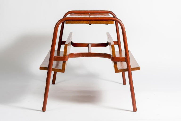Mid-20th Century Stitched Leather Table by Jacques Adnet For Sale