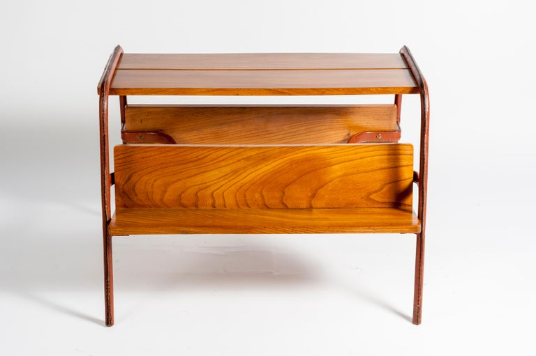 Stitched Leather Table by Jacques Adnet For Sale 1