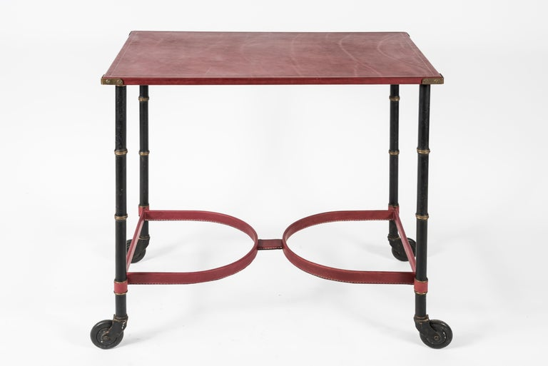 Metal Stitched Leather Table by Jacques Adnet