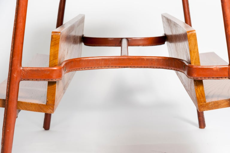 Stitched Leather Table by Jacques Adnet For Sale 2
