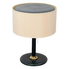 Stitched Leather Table Lamp, Attributed to Jacques Adnet