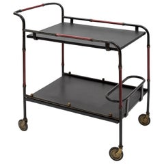 Stitched Leather Trolley by Jacques Adnet