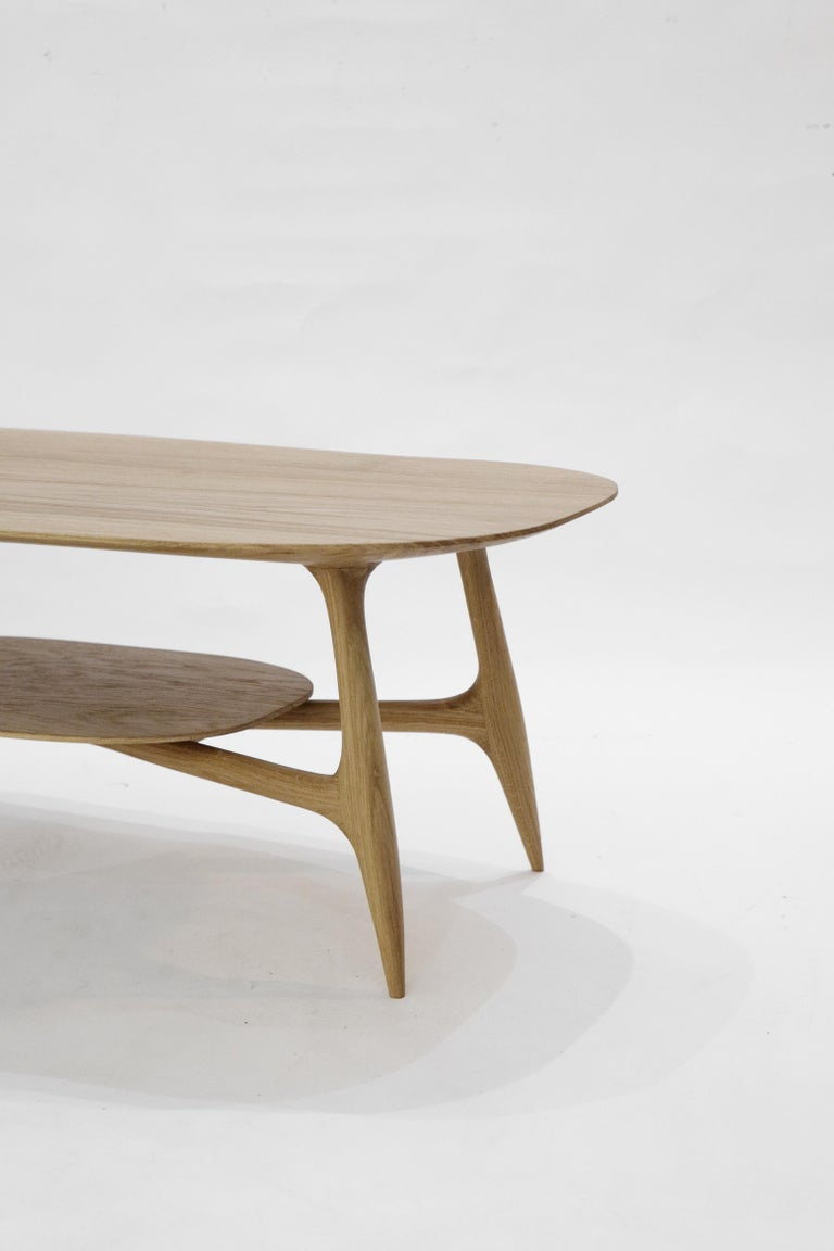 Stix coffee table with plate, hand-sculpted by Cedric Breisacher Dimension: L 120 x l 60 x H 42 Solid Oak Signed by Cédric Breisacher Can also be purchased with the plate for additionnal 400 euros  Inspired from Scandinavian design, STIX is