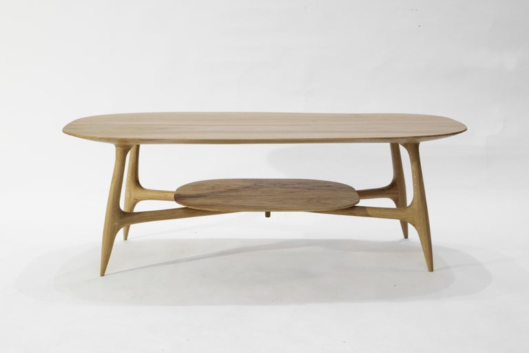 French Stix Coffee Table with Plate, Hand-Sculpted by Cedric Breisacher For Sale
