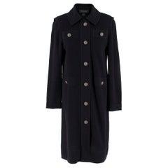 St.John Black Wool-Blend Knit Longline Coat US 8
