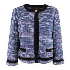 St.John blue flecked tweed jacket with black trim US 6