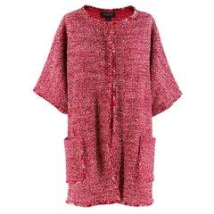 St.John red tweed unlined wool blend jacket Size S