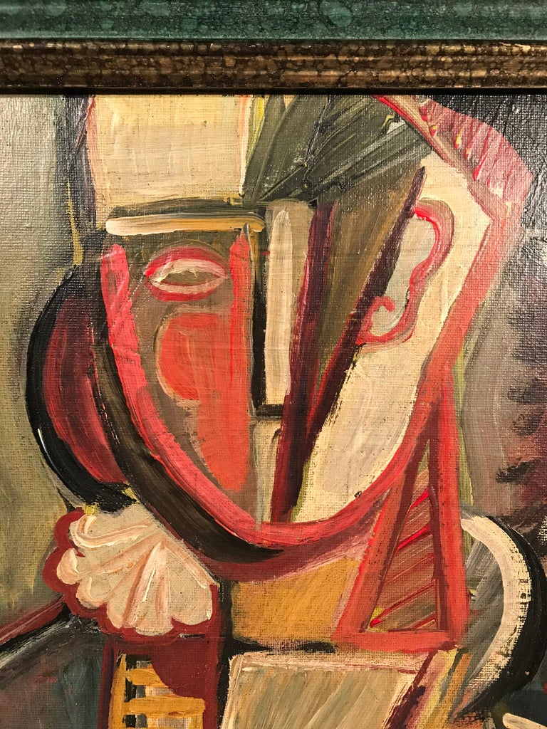 This portrait of a female subject in cubist form entails bold strokes of red and popping contrasts of color from foreground to background. This painting is signed STM.