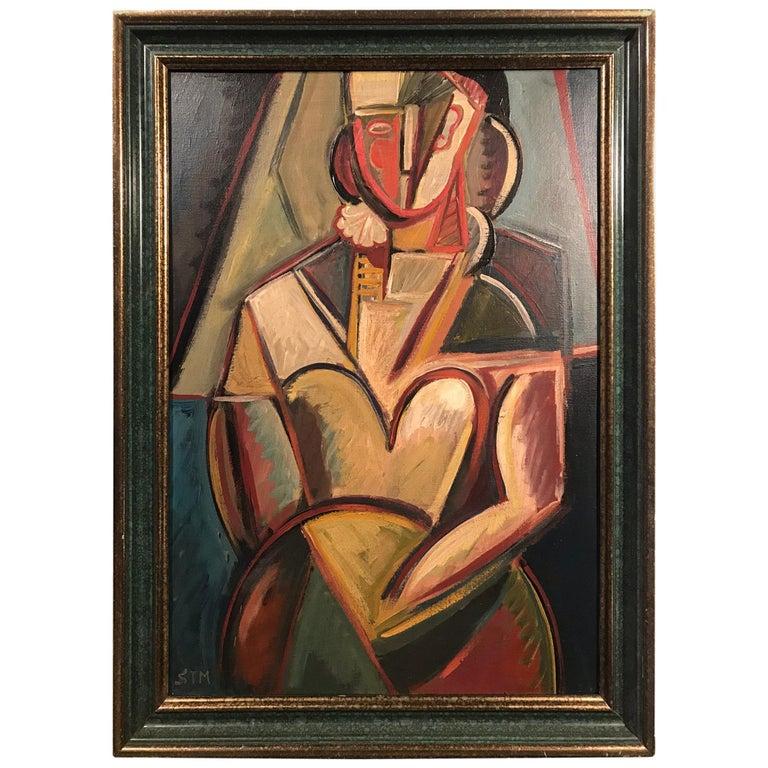 STM Signed Portrait of a Woman Cubist Painting For Sale