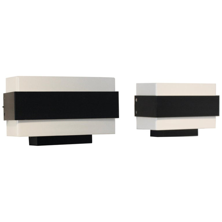 Stock of Louis Kalff Philips Wall Sconces in Black and White For Sale