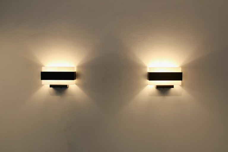Stock of Louis Kalff Philips Wall Sconces in Black and White For Sale 3