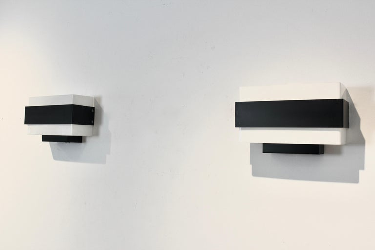 Stock of Louis Kalff Philips Wall Sconces in Black and White For Sale 5
