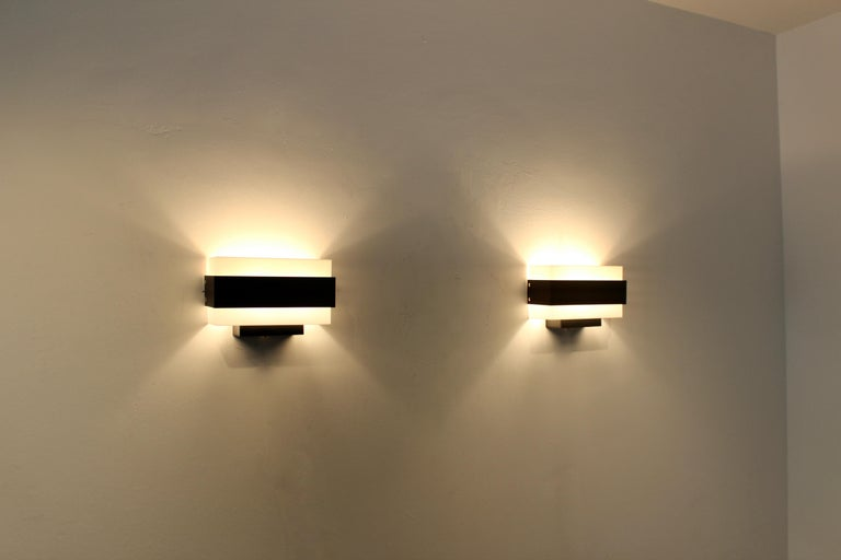 20th Century Stock of Louis Kalff Philips Wall Sconces in Black and White For Sale