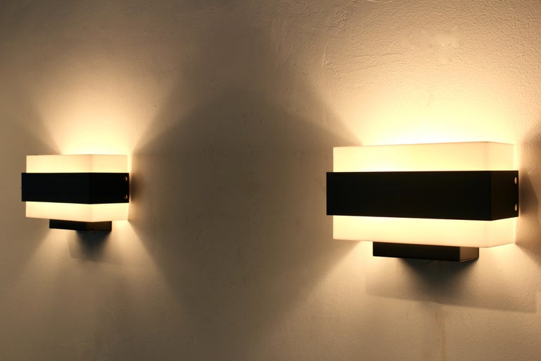 Steel Stock of Louis Kalff Philips Wall Sconces in Black and White For Sale