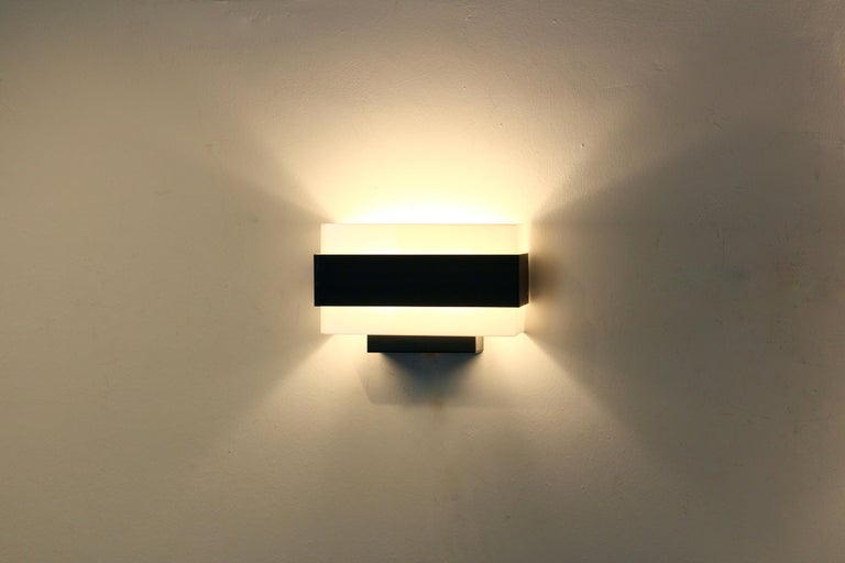 Stock of Louis Kalff Philips Wall Sconces in Black and White For Sale 1