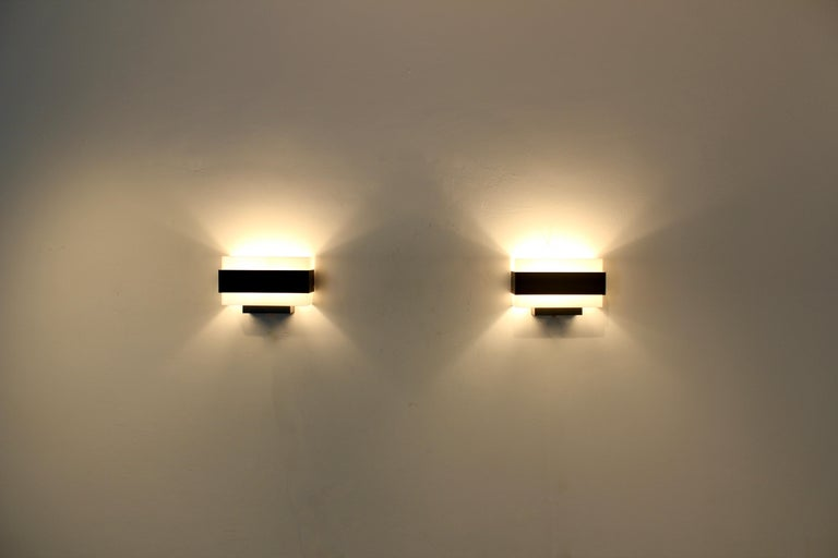 Stock of Louis Kalff Philips Wall Sconces in Black and White For Sale 2