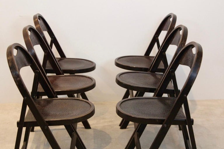 Mid-20th Century Stock of Solid Wood Bauhaus Folding Chairs with Unique Croco Woodprint, Thonet For Sale