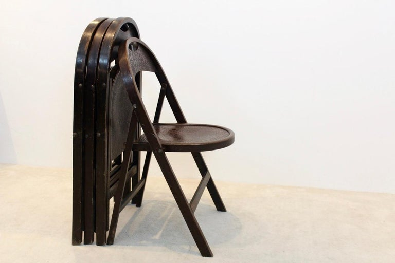 Bentwood Stock of Solid Wood Bauhaus Folding Chairs with Unique Croco Woodprint, Thonet For Sale