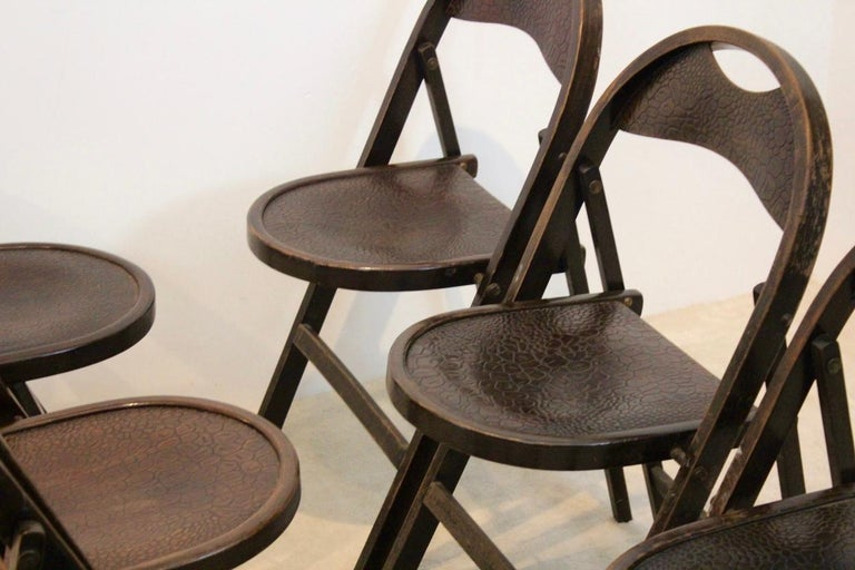 Stock of Solid Wood Bauhaus Folding Chairs with Unique Croco Woodprint, Thonet For Sale 1