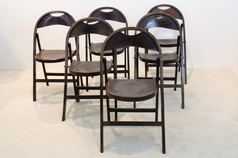 Stock of Solid Wood Bauhaus Folding Chairs with Unique Croco Woodprint, Thonet For Sale 2