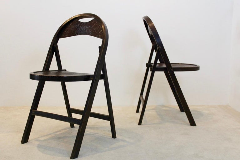 Stock of Solid Wood Bauhaus Folding Chairs with Unique Croco Woodprint, Thonet For Sale 3
