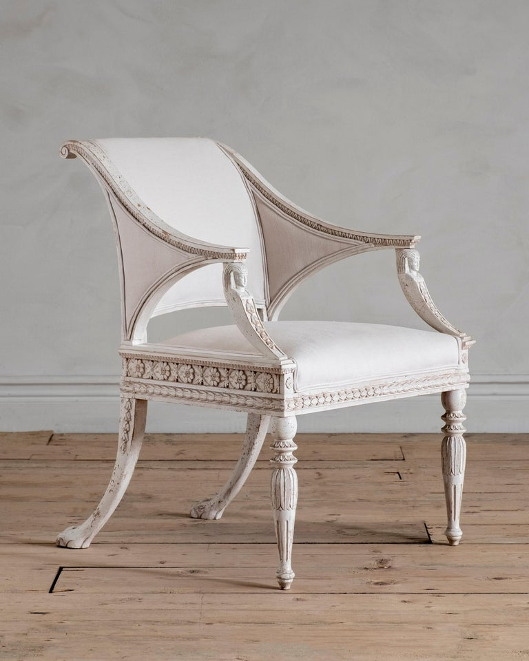 Hand-Crafted Stockholm, Gustavian Style Armchair For Sale