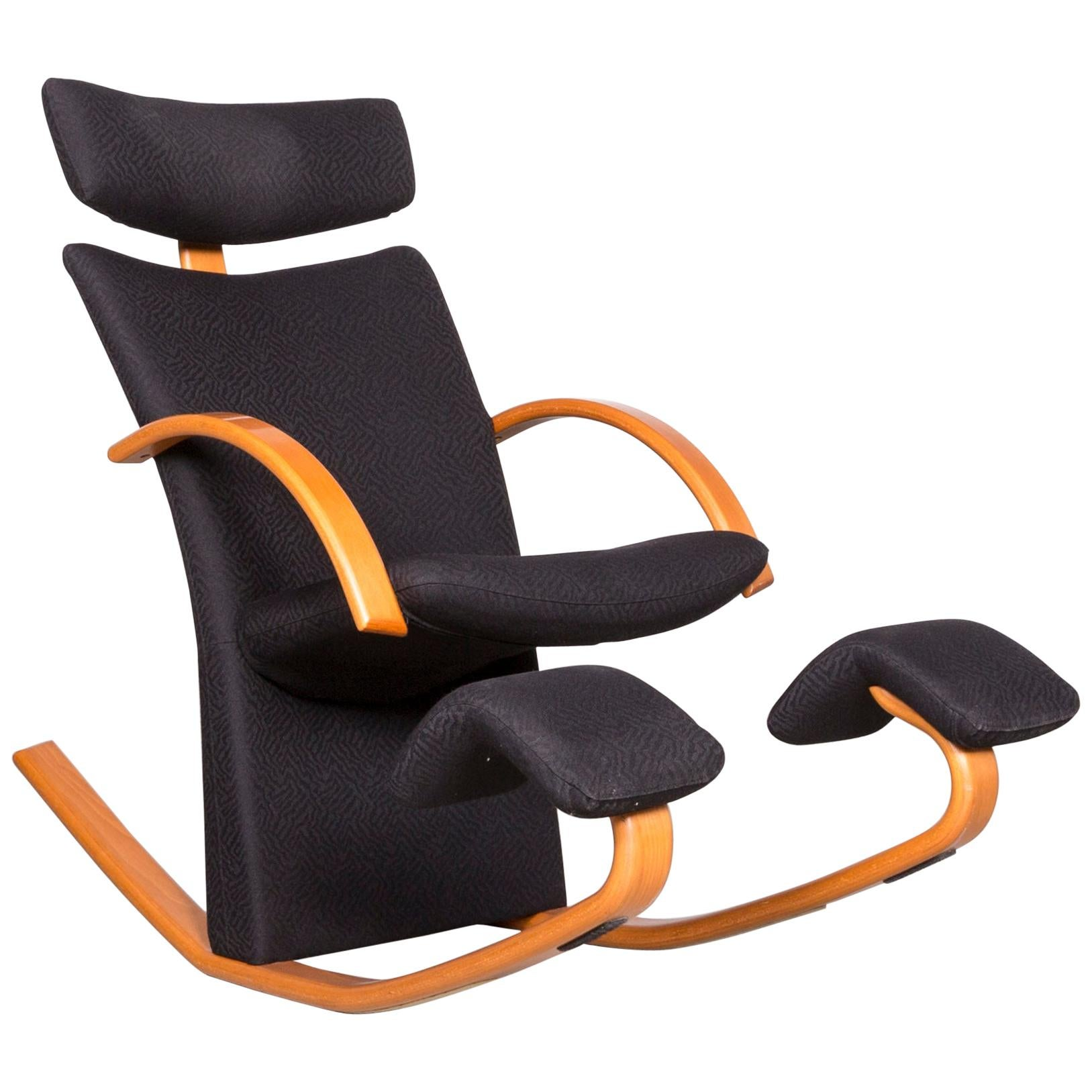 Stokke Gravity Balans Designer Fabric Armchair Black Rocking Chair By Peter
